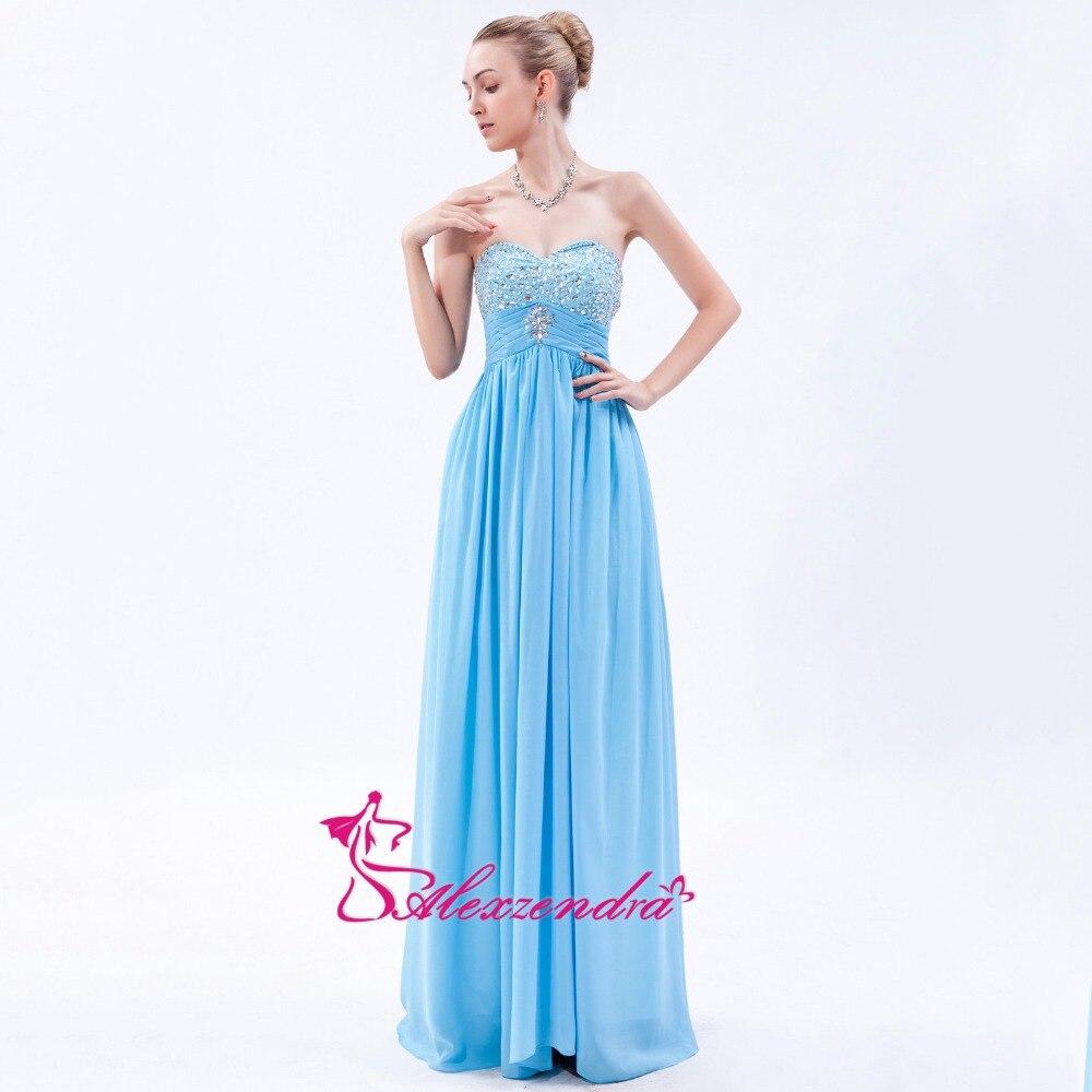 Alexzendra chérie longue mousseline de soie bleu robes de bal chérie perlée corsage longues robes de soirée robe de soirée personnaliser