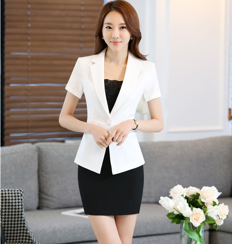 New Professional Summer Short Sleeve Ladies Work Suits With Jackets And Skirt Novelty White Business Women