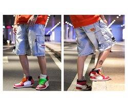 Мужские хлопковые джинсы, джинсовые шорты Карго, летние уличные модные короткие брюки для подростков и мальчиков, шорты в стиле хип-хоп