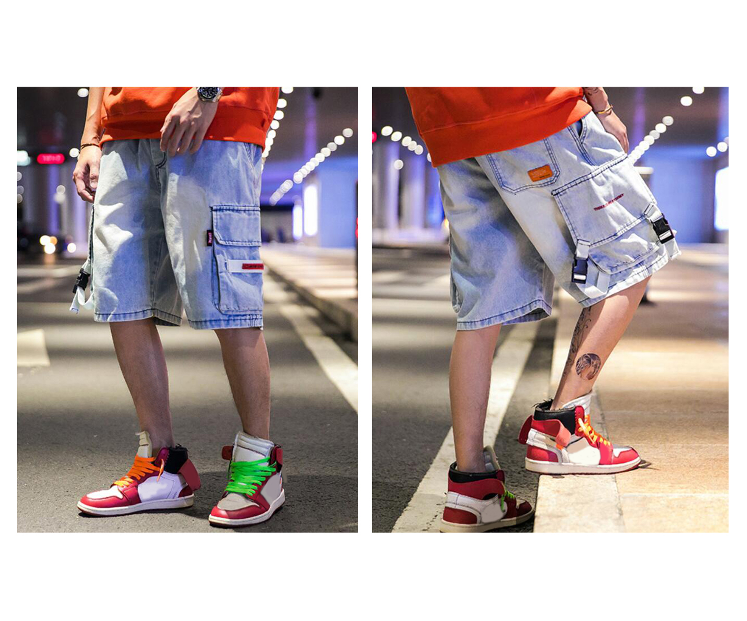 Men's Cotton Jeans Denim Cargo Shorts, Summer Street Fashion Short Trousers For Adolescents And Young Boys, Hip Hop Style Shorts