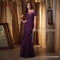 Purple Sirena Madre De La Novia Vestidos de Encaje de Bodas con Mangas Novio Madre Nupcial Vestidos de Madrina
