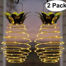 2 pçs ao ar livre à prova dwaterproof água jardim abacaxi solar lâmpada caminho luzes penduradas luzes de fadas 20 led solar quente corda de fadas decoração