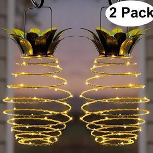 Image 1 - 2 szt. Na zewnątrz wodoodporny ogród ananas lampa słoneczna lampka ogrodowa wiszące lampki 20 panel słoneczny ciepły wróżka ciąg dekoracji