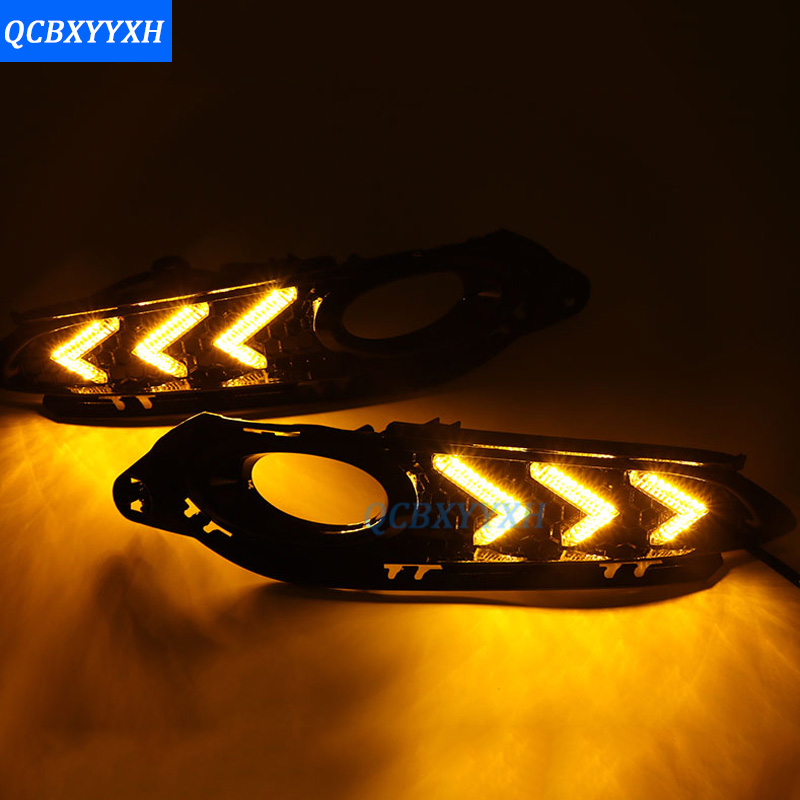12V Waterproof Car DRL With Fog Lamp Hole For <font><b>Honda</b></font> Vezel <font><b>HRV</b></font> HR-V 2015-2017 Turn Yellow Signal Relay LED Daytime Running Light image