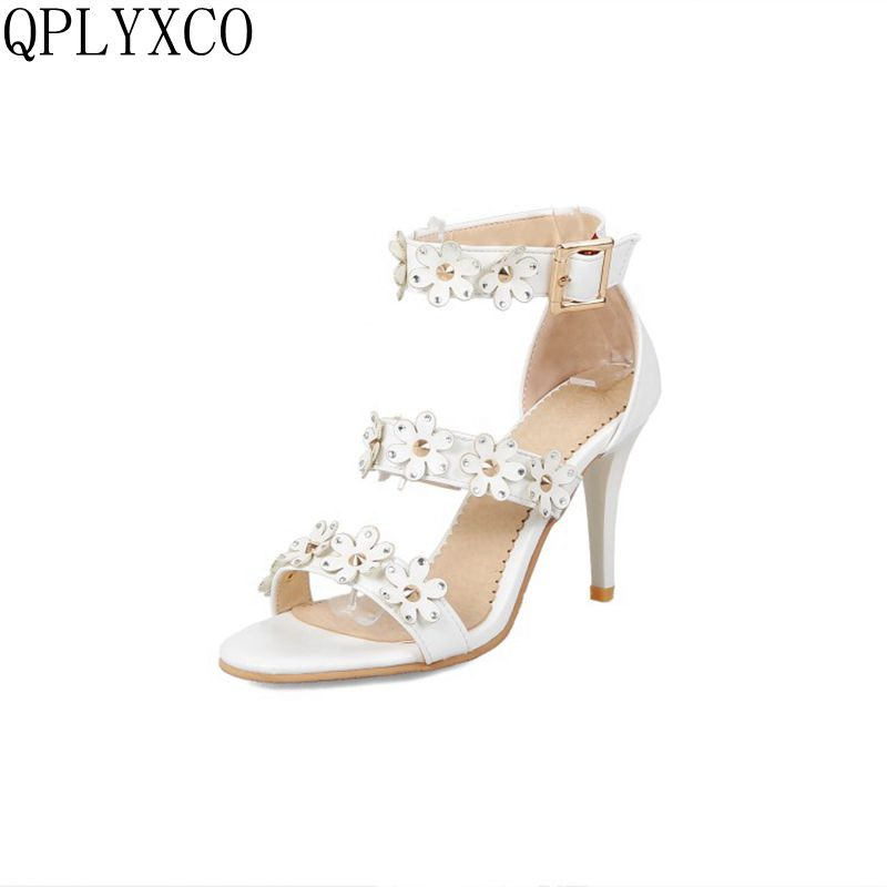 f5575c053 QPLYXCO новые модные пикантные большой Размеры 31-48 женская обувь летние  босоножки на высоком каблуке вечерние свадебные обувь качество Для жен.