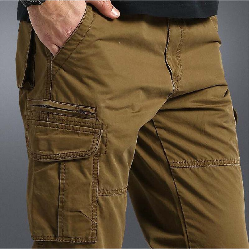 Summer Thin Casual Pants Men's Cotton Straight Long CARGO PANTS Plus Size 30 40 42 44 Loose Trousers Man Bottoms-in Casual Pants from Men's Clothing    1