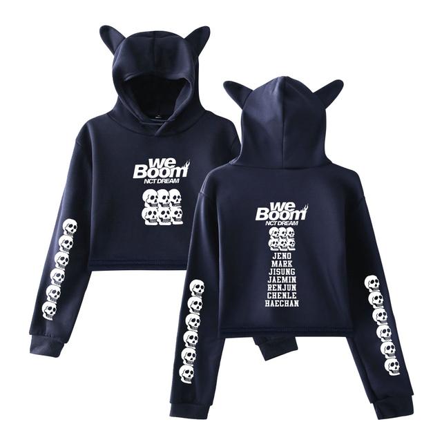 2019 NCT Dream nuevo álbum WE BOOM Hot Sale impreso Cat Hoodies para mujeres ropa de verano Sexy k-pop harajuku con capucha de gato talla grande