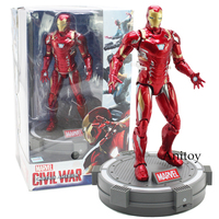 Marvel Civi War Captain America Iron Men With Base PVC Action Figure Collectible Model Toy 18cm Captain American Civil War