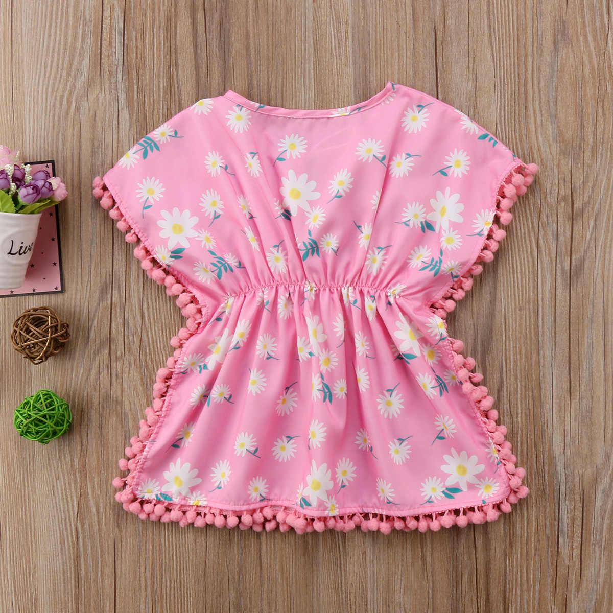 48300047bbac ... Fashion Kids Baby Girls Dress 2018 Floral Pom Pom Beach Dress Sundress  Cute Baby Girls Clothes