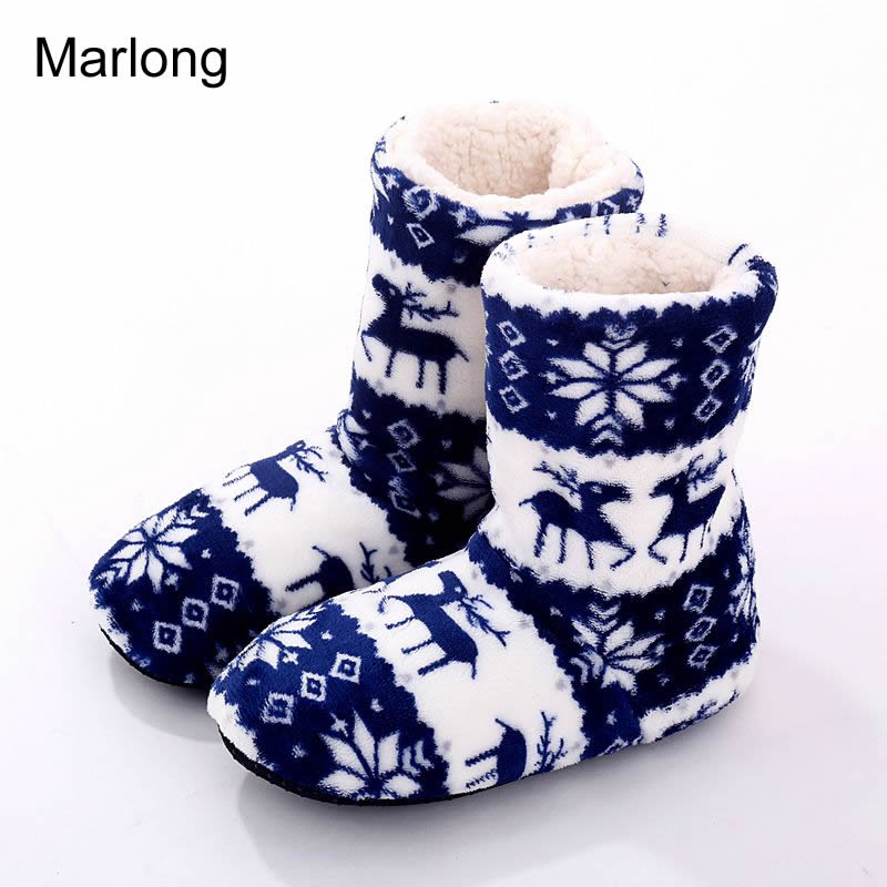 New Indoor Home Slippers Flannel Slippers Plush Home Slippers Couples Wooden Floor Slippers For Women Shoes woman Christmas Deer 201818 woman slippers tab