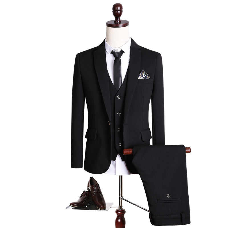 2017 new High quality Single Button black casual suit men,blazer wedding dress,Business Suit(Jackets+vest+Pants) size M- 5XL ...