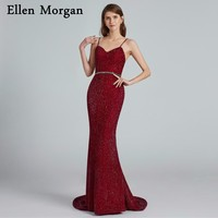 Sexy Burgundy Mermaid Evening Dresses 2019 Sale Robe De Soiree Straps Corset Long Celebrity Red Carpet Formal Prom Party Gowns