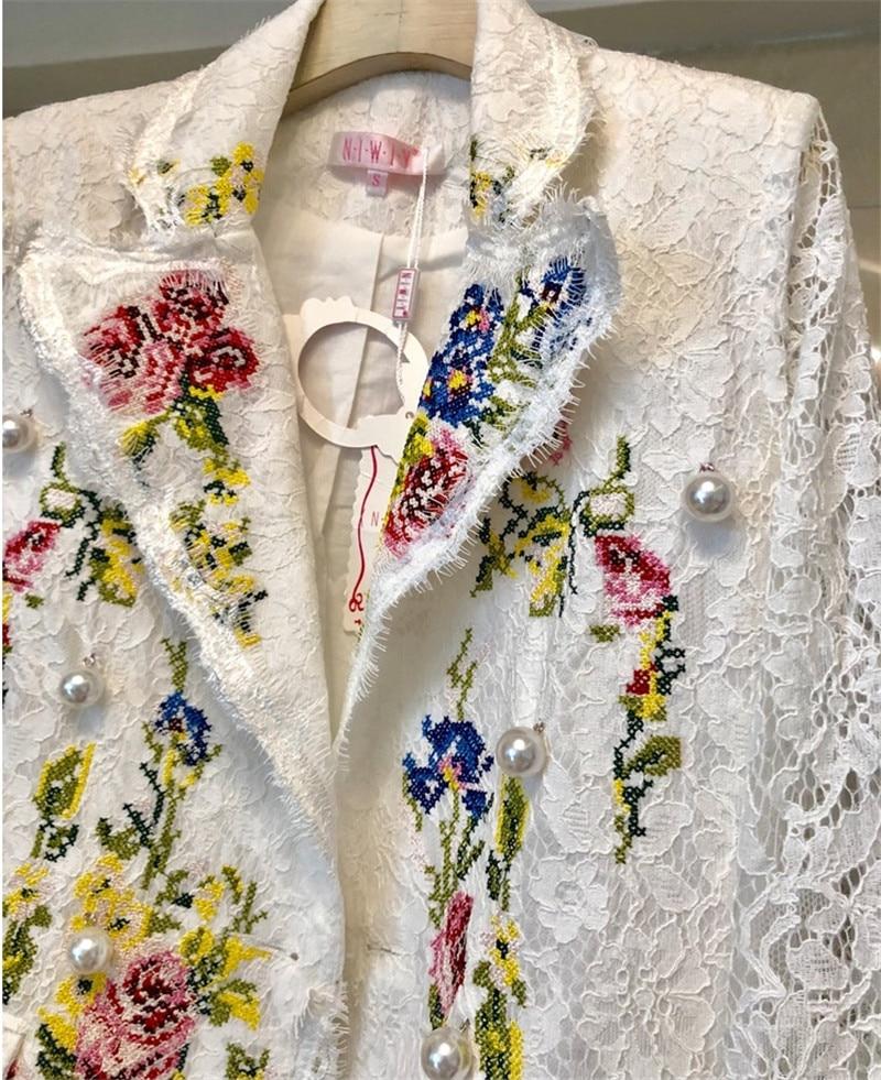 Perles Color Longues Picture Dentelle Manteau Croix D136t Mode Manches Broderie Femmes Outwear Veste En Fleurs Blanc À Piste PYxa0wTq