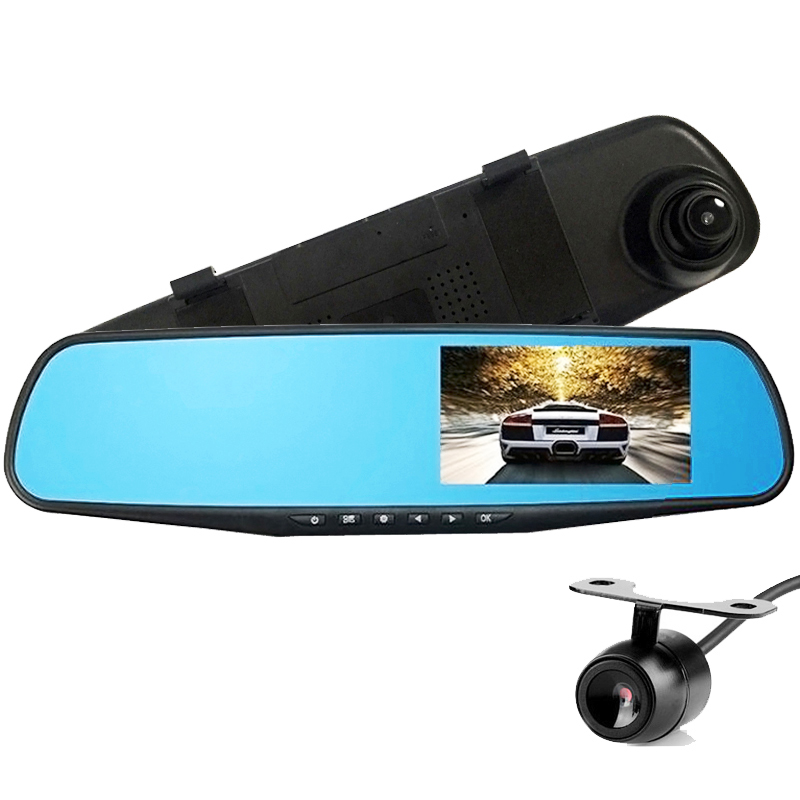 car camera 1080p full hd rear view mirror with two camera auto dvr cars dvr parking video. Black Bedroom Furniture Sets. Home Design Ideas