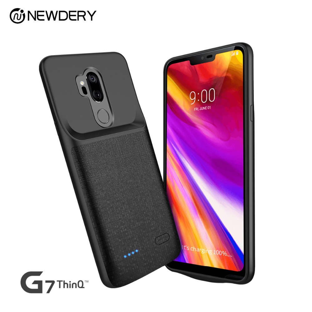 NEWDERY 4700mAh Battery Charger Case For LG G7 ThinQ / G7 Plus G7+ Soft TPU Ultra Slim External Pack Backup Power Bank Case