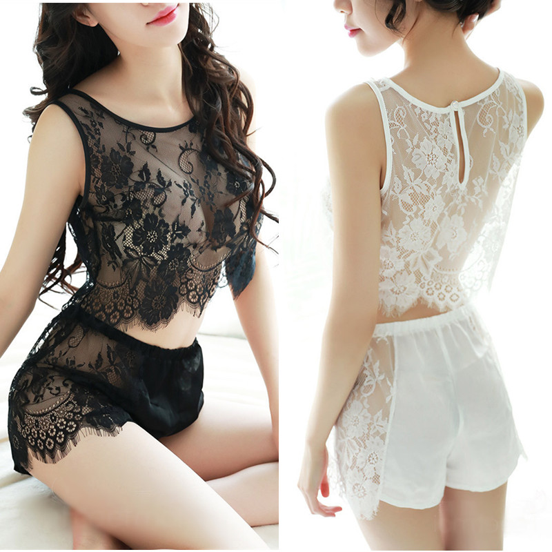 Women\'S Sleep & Lounge Pajamas Set Women Black White Lace Top + Shorts Sets Sexy Noghtdress Sleepwear Intimates