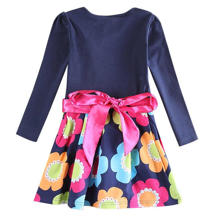 Meninas arco vestido 2018 outono manga comprida vestidos bordados crianças vestido de princesa floral baile de formatura festa crianças roupas menina