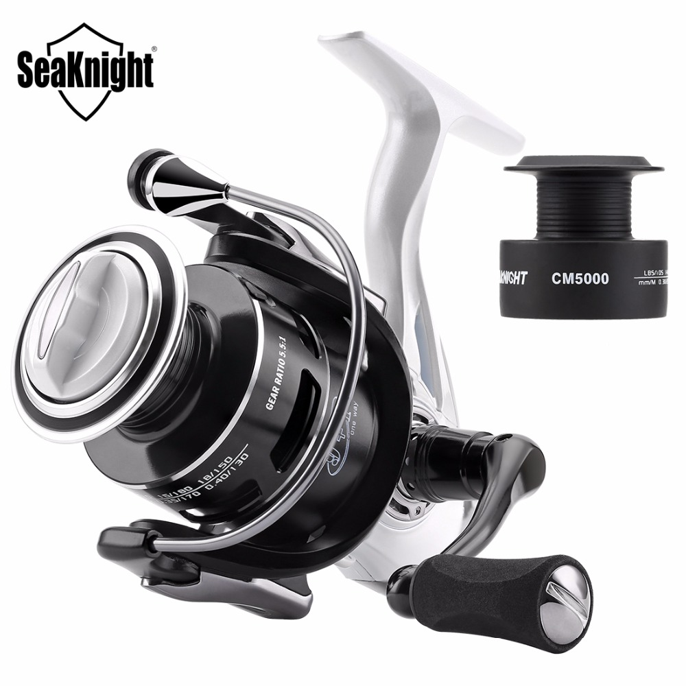 Seaknight CM II Fishing Reel 2000 3000 4000 5000 Spinning Reel 5.5:1 7KG-13KG Max Drag Carp Fishing Reel With Free Spare Spool