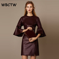 WBCTW Woman Dress High Waist 3/4 Flare Sleeve Vintage Party Dress 7XL Plus Size PU Leather Summer Elegant Mini Bodycon Dress