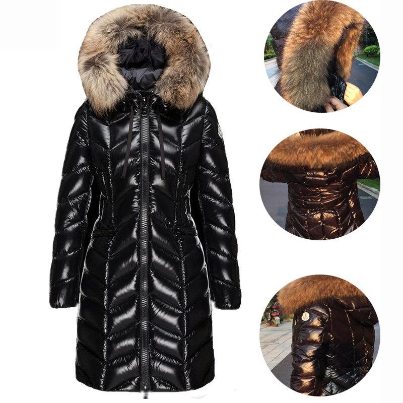 KULAZOPPER ダウンジャケット女性 2019 新しい冬の毛皮の襟ロング段落肥厚スリム暖かいフード女性 QW634  グループ上の レディース衣服 からの ダウンコート の中 1