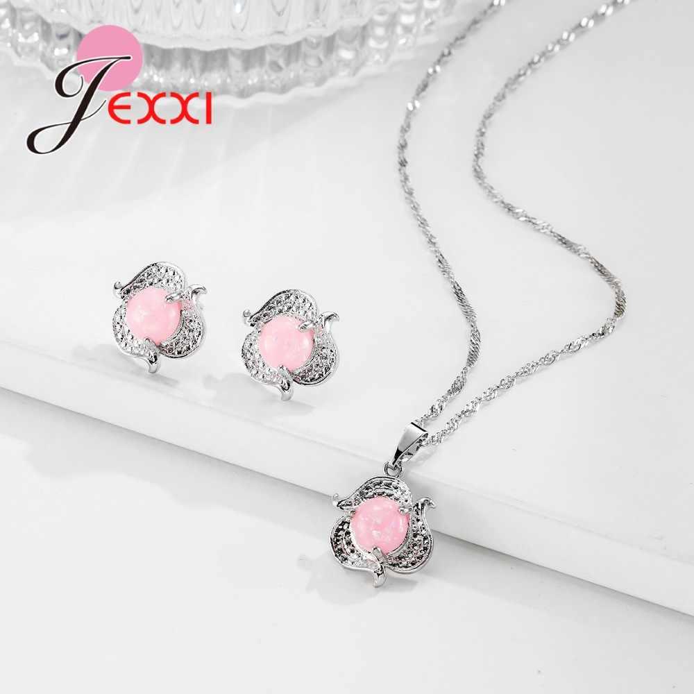 Schöne Reine Blume Form Weibliche Schmuck Sets 925 Sterling Silber Halskette Ohrringe Für Freundin Liebhaber Geschenk