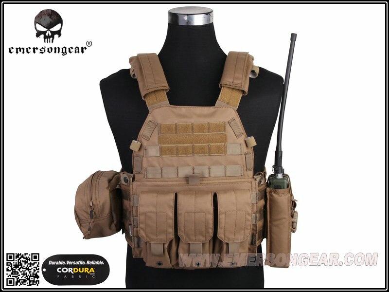 Emersongear Lbt6094a Stijl Tactical Vest Met 3 Zakjes Jacht Airsoft Militaire Combat Gear Coyote Bruin Em7440cb