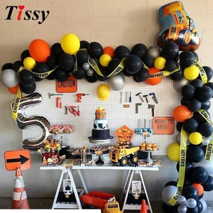 Image 2 - 1Set Construction Tractor Theme Inflatable Balloons Truck Vehicle Banners Cake Decor Baby Shower Boys Birthday Party Supplies