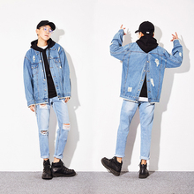 YINOS 2017 Boyfriend Style Oversize denim Jackets for men women couples Drop shoulder Back Breasted Buttons Ripped Loose Coat(China)