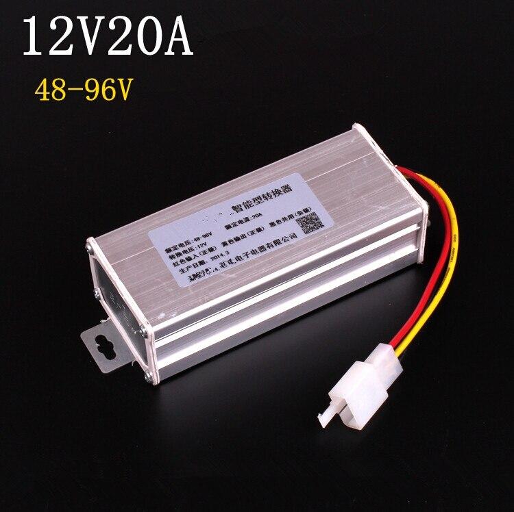 Electric Converter Adapter To Voltage Transformer Dc 96v 72v 64v 60v 48v To 12v 20a Current