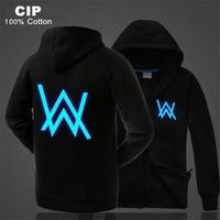Alan Walker Jacket Coat Fleece Parka Men Glow in the Dark Winter Coats Mens Thick Parka Warm Male Jackets Parkas Hood Outerwear