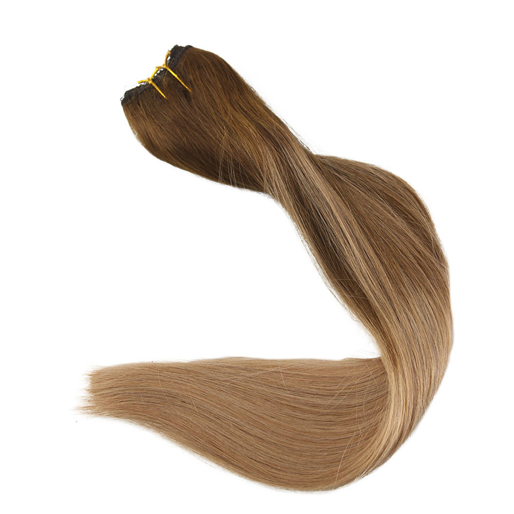 Full Shine Fishing Line Hair Weaving Ombre Balayage Color 100 Remy
