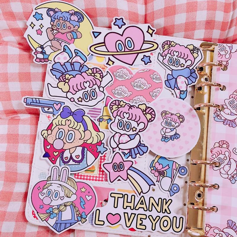 14Pcs / Packs Cute Teenage Girl Oversized Stickers Kawaii Diary Album Three-dimensional Handmade Sticker Adhesive Paper Flake