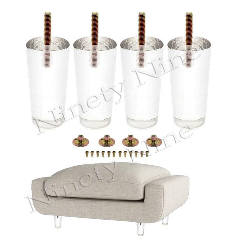 4PCS 4Inch 100mm Sofa Legs Clear Furniture Feet Acrylic Bench Legs Modern Cabinet Cupboard Coffee Table