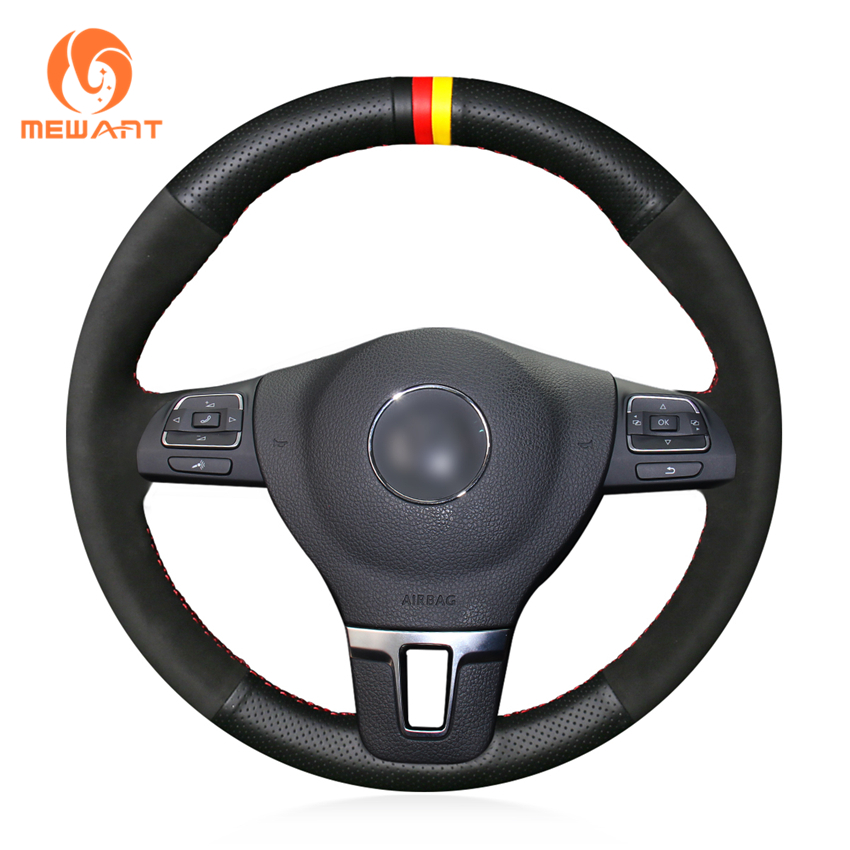 MEWANT Suede Genuine leather Hand Sew Steering Wheel Cover for Volkswagen VW Gol Tiguan Passat B7