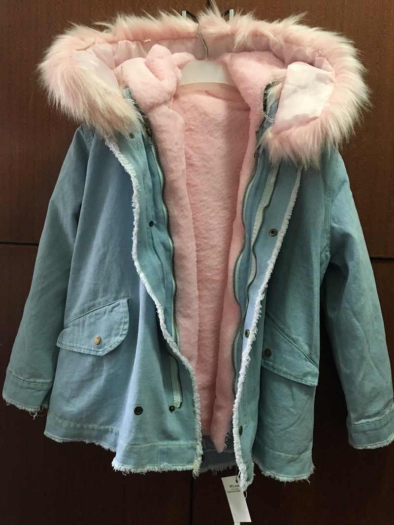 d26c75e46aa ... Зимняя теплая Потертая джинсовая куртка с мехом новая свободная с  длинным рукавом бархатная хлопковая стеганая куртка