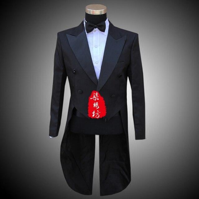 Men's Dress Tuxedo Magic Performance Costume Chorus Performance Dress Man's Dress Suit Dancing Dress Trousers Waist Belt Tie do2
