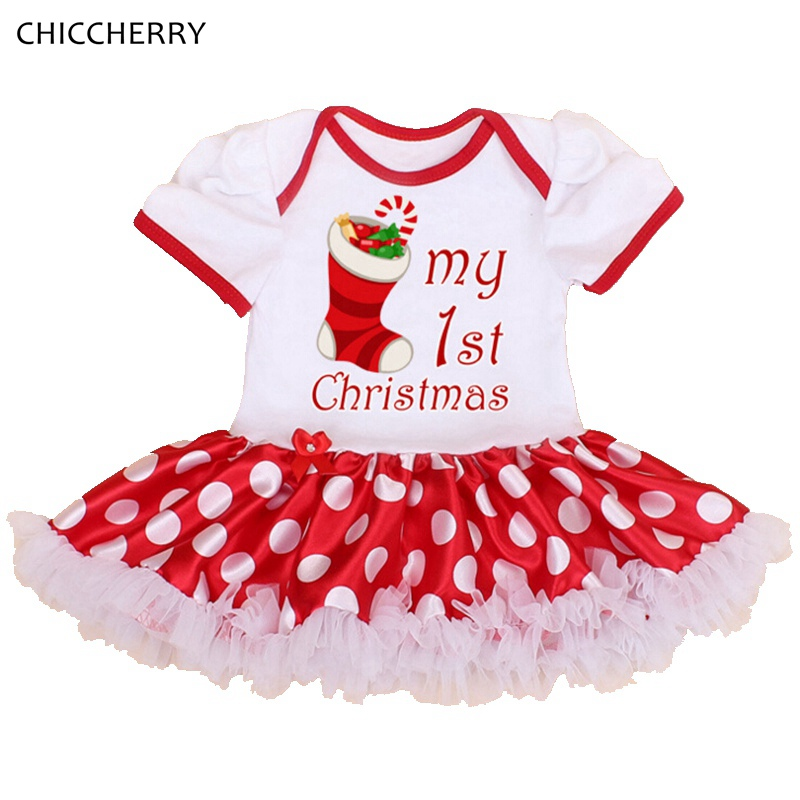VE078-A--2 - My First Christmas Toddler Girl Clothes Polka Dots One Piece Baby