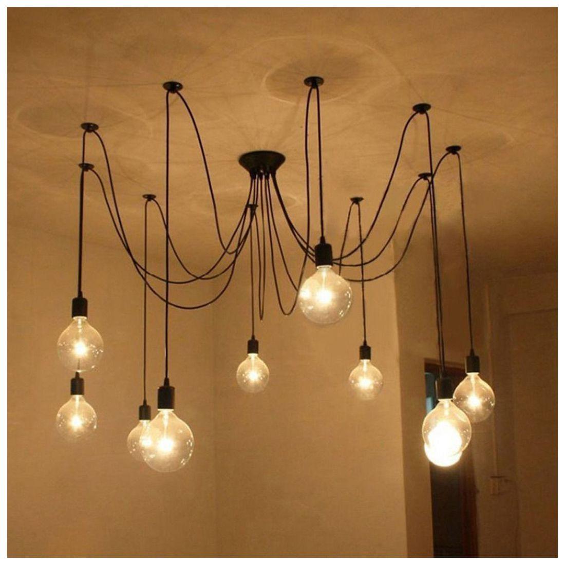 9 огни E27 DIY потолочный паук подвесной светильник Тенты Свет Античная Классика Регулир ...