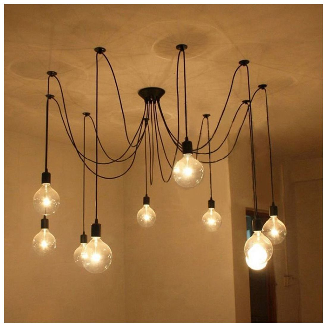 9 Lights E27 DIY Ceiling Spider Pendant Lamp Shade Light Antique Classic Adjustable Retro Chandelier Dining Hall Bedroom hemp rope chandelier antique classic adjustable diy ceiling spider lamp light retro edison bulb pedant lamp for home
