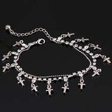 FAAJ Metal Cross Rhinestone Crystal Tobillera Ankle Bracelet Enlace Cadena