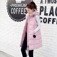Mid length Cotton Coat Ladies Winter New Slim Hooded Waistcoat Hair Ball Down Jacket Cotton Plus Size 5XL Mujer Vest MZ3065