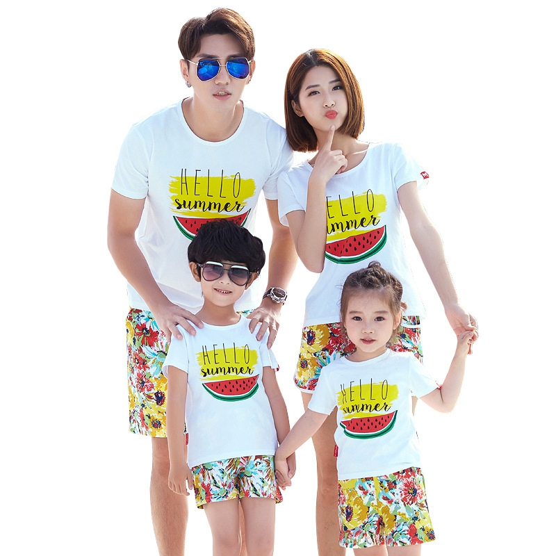af1712fc Summer Family Clothing Sets 2 Pieces Cotton T Shirts +Pants Dad Mum  Daughter Son Family Vacation Sets Lovers Causal Clothing