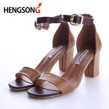 d09b5ea6e446 Elegant Women Sandals Summer Fashion Open Toe Pumps Solid High Heels Dress Shoes  One Word Buckle Thick High Heel Sandals 915531
