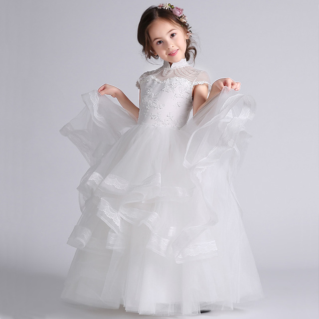 flower girls white party dress gown birthday child prom dresses 2017 ...