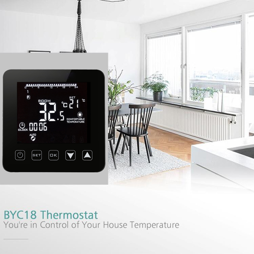 Digital Water Floor Heating Thermostat Programmable Room Temperature Controller LCD Display 3A Thermostat 6 1 programmable eu floor heating thermostat room temperature controll with lcd touch
