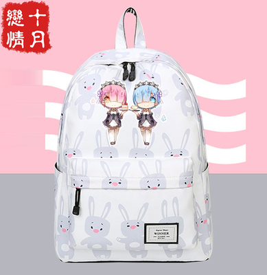Anime Re:Zero kara Hajimeru Isekai Seikatsu cosplay Campus Student Men and Women College Style Schoolbag Backpack Travel Bag free ship gou matsuoka long wine red women style anime cosplay wig one ponytail 370f