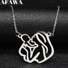 2019 Fashion Mama Kid Stainless Steel Chain Necklace for Women Silver Color Necklaces Pendants Jewelry N18949