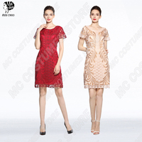 Mother Of The Bride Dresses Plus Size Short Sleeve Wedding Party Gown Women Elegant Short Evening Dress Formal Lace O Neck