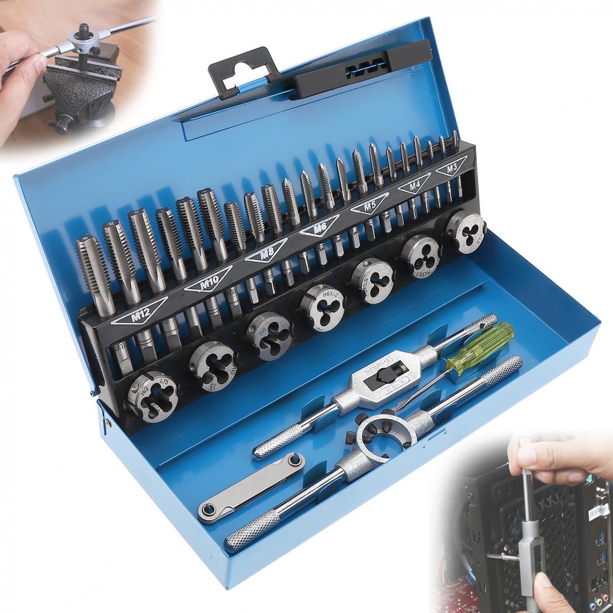 32 teile/satz HSS Metric Tap & Die Set M3-M12 1st 2nd & Stecker Finishing für Metallbearbeitung Hand tool set kombination werkzeuge