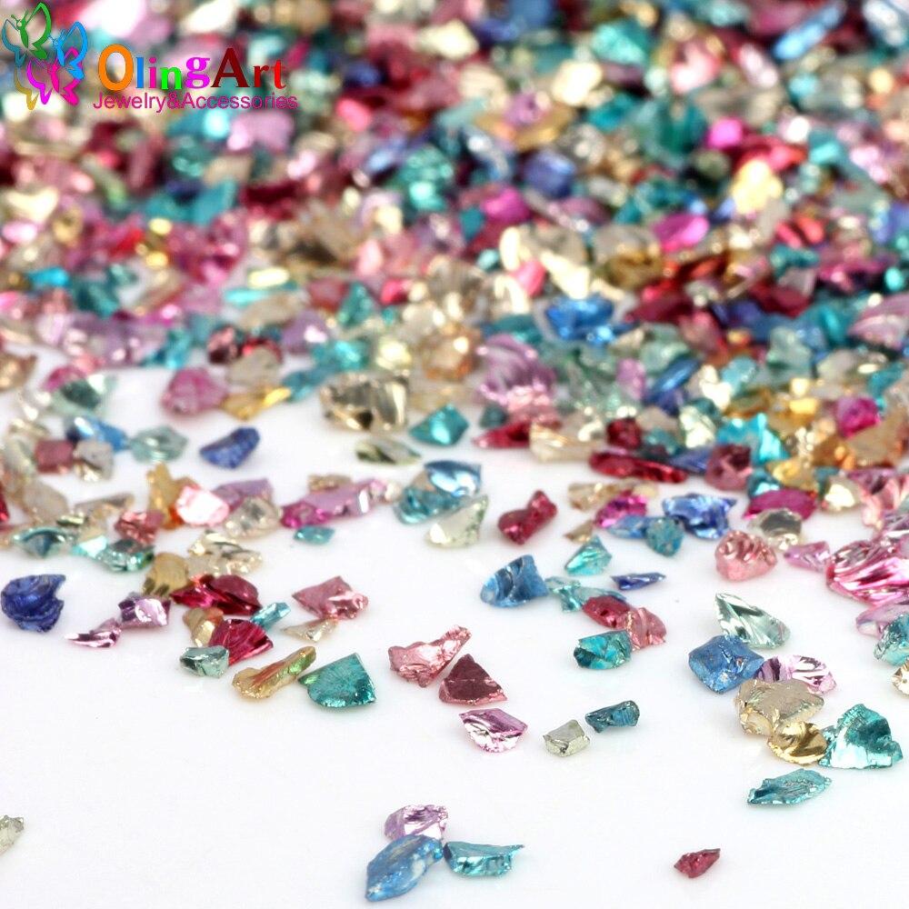 Цветные смешанные камни для дизайна ногтей OlingArt, 25 г/лот, стразы для украшения ногтей, ожерелье, подвеска